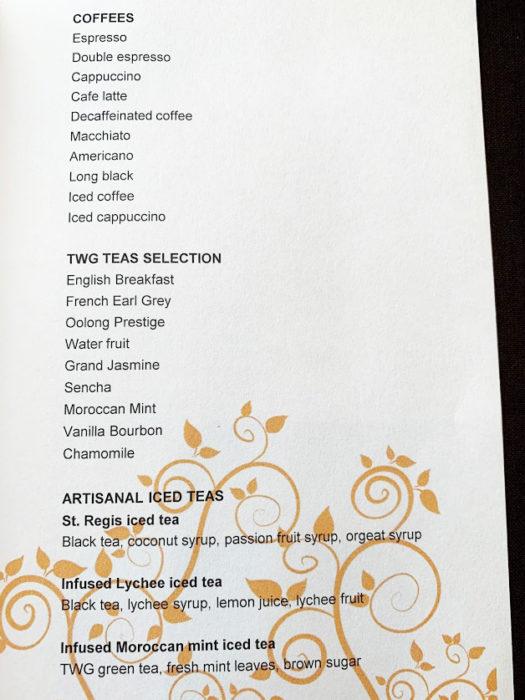 St. Regis Langkawi l'orangerie breakfast menu